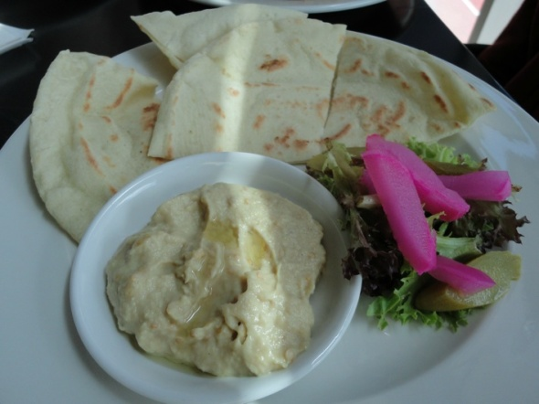"""Baba-ghanouj"" plate at VU Halal Kitchen."